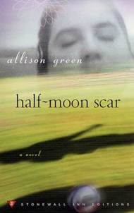 Cover of Half-Moon Scar: Woman's face hovering above a grassy field with a shadow of a child and a ball