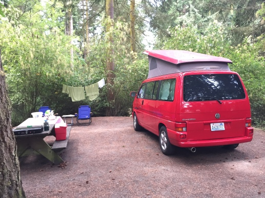 Red Eurovan Weekender in Fort Worden