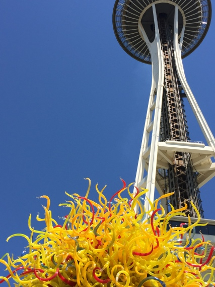 The Space Needle with a Chihuly glass sculpture