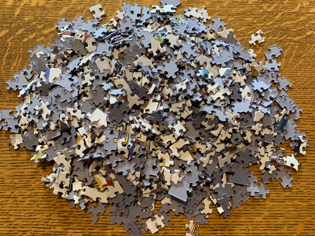 A pile of puzzle pieces